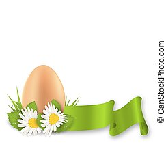Traditional Easter egg with flowers daisy, grass and ribbon, copy space for your text