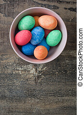 Traditional Easter eggs on a wooden