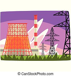 Traditional energy generation power station, electricity generation plant horizontal vector illustration