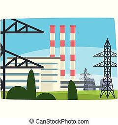 Traditional energy generation power station, fossil fuel power plant horizontal vector illustration