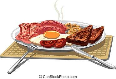 traditional english breakfast - illustration of traditional...