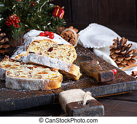 European Stollen cake with nuts and candied fruit