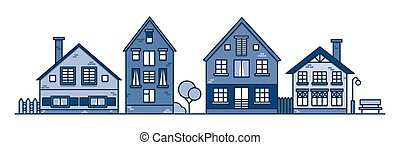 Traditional european style houses in old town. Neighborhood suburban. Traditional street. Vector illustration