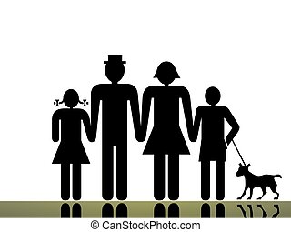 A traditional family mom dad boy girl and pet illustration.