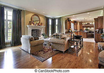 Traditional family room with view to kitchen