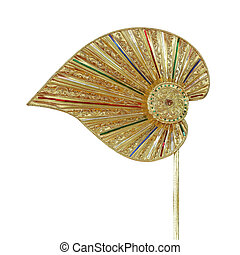 Traditional Fan Made Of Palm Leaf Isolated on white