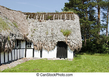 Medieval farm house with sea grass thatched roof