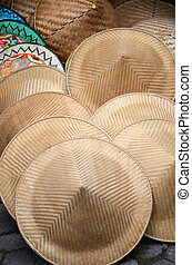 Traditional farmer hats sold in Bali market