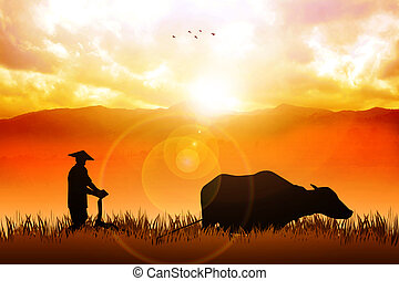 Traditional Farmer - Illustration of a farmer plowing the ...