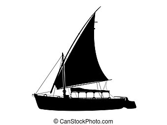 Traditional felucca boat. - Traditional wooden sailing boat...