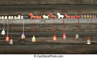 Traditional festive colorful russian wooden toys -...