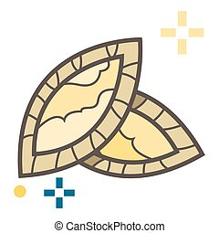 Traditional Filnand rice bread. Vector illustration.