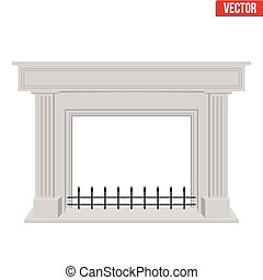 Traditional fireplace flat style design