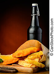 Traditional fish and chips and beer
