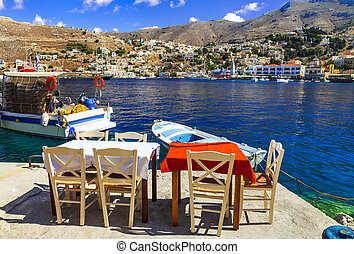 Traditional fish taverns (restaurants) in Greece Simi (Symi) island in Dodecanese