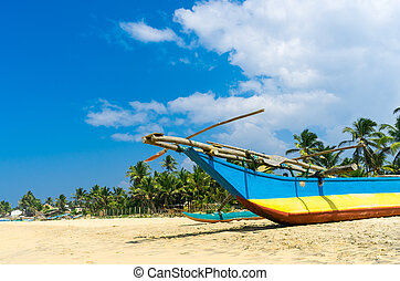 Traditional fisherman boat in Sri