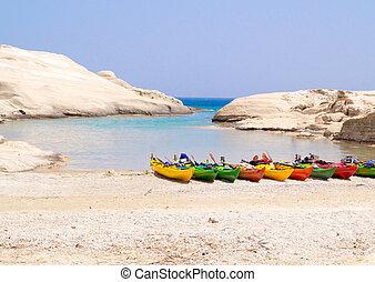Traditional fishing boat on Milos island, Greece