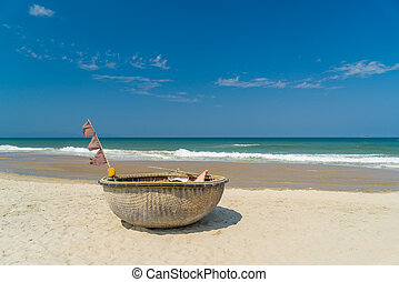 fishing boat on the beach of Hoi An