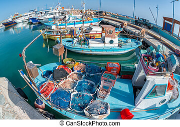 Traditional fishing boats at Ayia Anpa Harbor. Famagusta ...