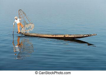 Traditional fishing by net in Burma - Traditional fisherman...