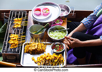 Traditional floating market for sell food and fruit, ...