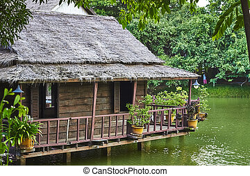 Traditional floating Village on lake. Cambodia. Siem Reap.
