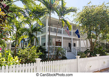 Traditional Florida Home with American Flag