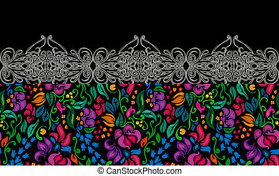 Traditional flower ethnic seamless floral pattern on black background.