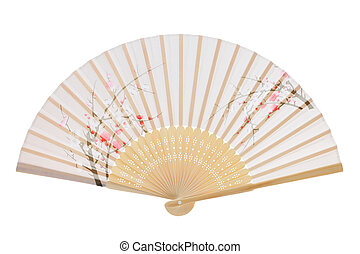 Traditional folding fan - Folding fan isolated on a white...