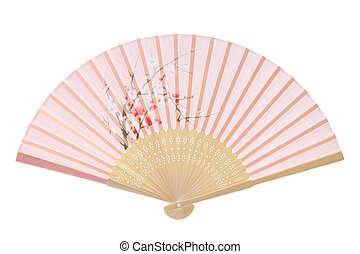 Traditional folding fan - Chinese fan isolated on white...