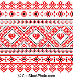 Traditional folk art red pattern