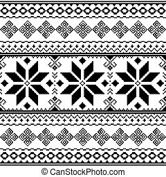 Traditional Folk Black Embroidery Pattern From Ukraine Or...