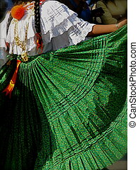 Traditional Folk Dancer in Green Pleated Skirt Performs in...