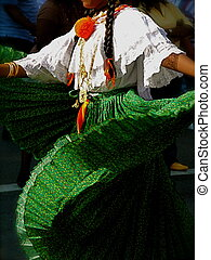 Traditional Folk Dancer in Green Pleated Skirt Performs in ...
