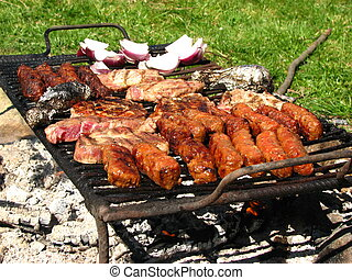 Traditional food being prepared on grill