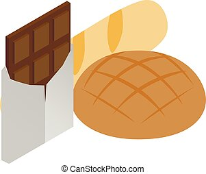 Traditional food icon, isometric style