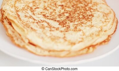 Traditional french crepe recipe on frying pan, homemade thin...