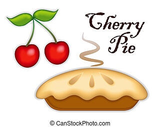 Traditional fresh baked steaming Cherry Pie, ripe fruit, isolated on white background. Tasty sweet dessert. See other fruits in this series. EPS8 includes gradient mesh.