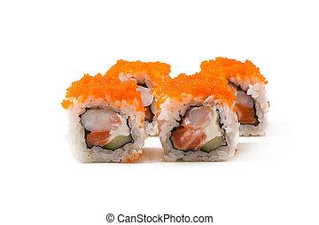 Traditional fresh japanese sushi rolls isolated on white background