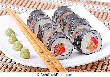 sushi rolls - Traditional fresh japanese sushi rolls