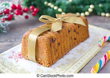 Traditional fruit cake for Christma