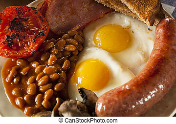 Traditional Full English Breakfast with Eggs, Bacon,...