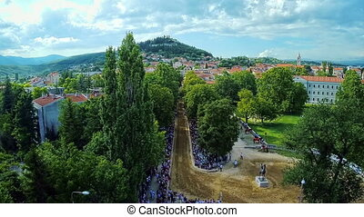 Traditional game Alka in Sinj, Croatia - Copter aerial view...