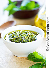 Genovese pesto - Traditional Genovese pesto made of Basil ,...