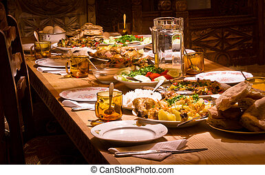 traditional Georgian meal set on a table