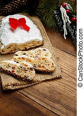 traditional German cake with raisins Dresdner stollen....
