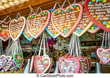 Traditional Gingerbread heart cookie in Germany