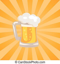 Traditional Glass of Beer with White Foam Vector -...