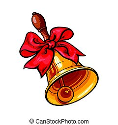 Traditional golden school bell with red ribbon bow