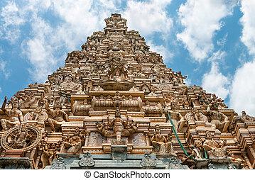 Traditional gopuram of Hindu temple - Facade of the big...